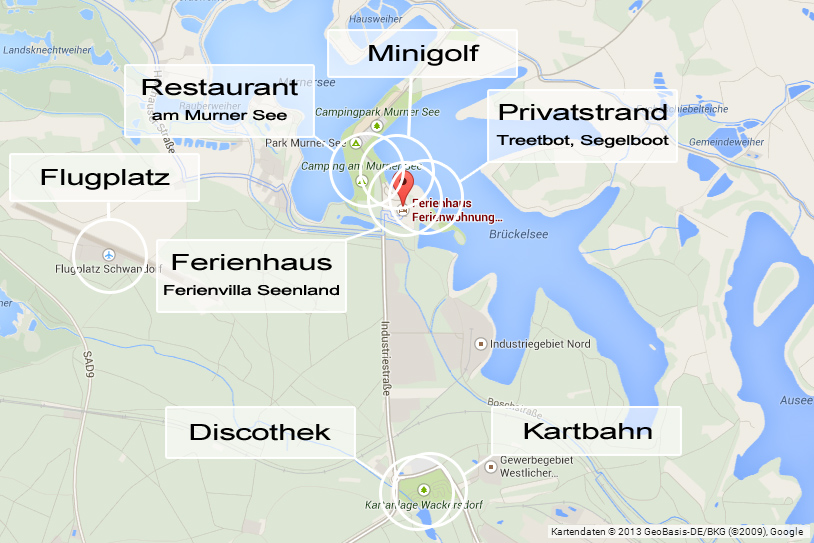 Ferienvilla Seenland - Kartenausschnitt mit Attraktionen